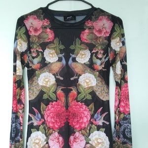 """Nasty Gal """"Sheer by Nature"""" Mesh Floral Top M"""